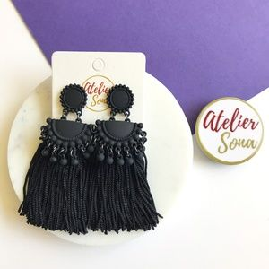 Embellished Tassel Earrings - Black